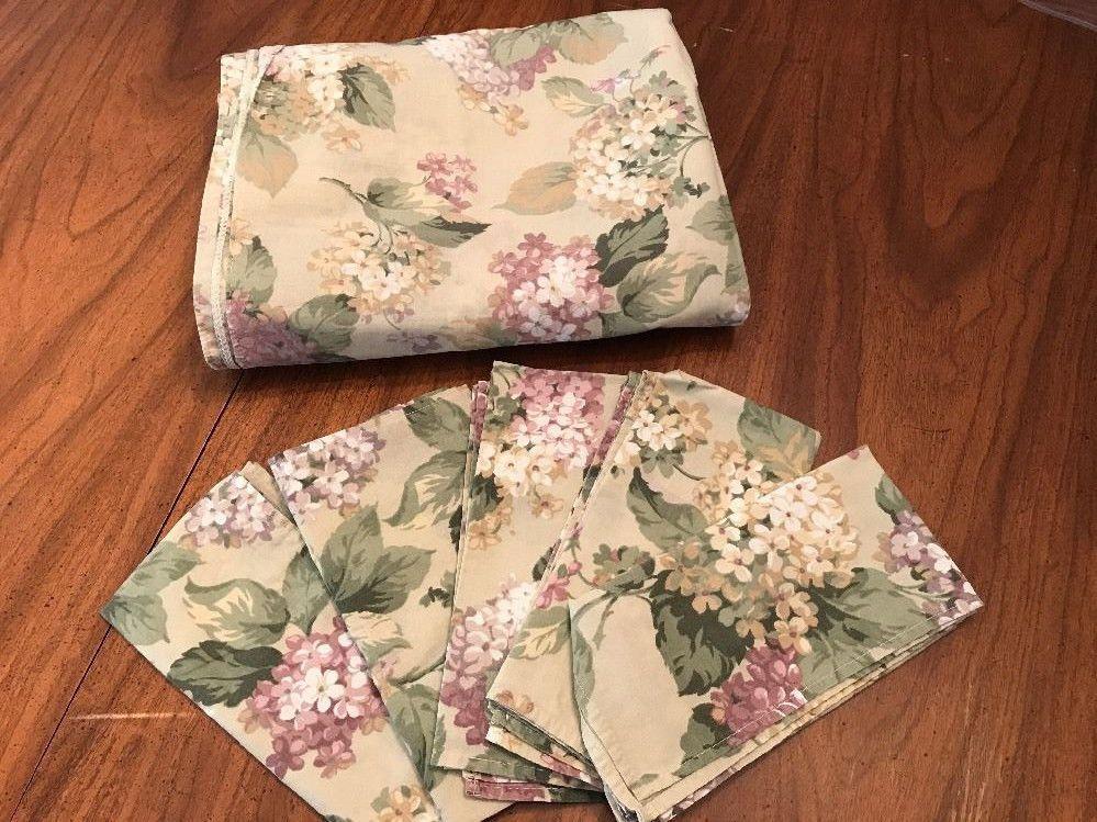 Vtg Tablecloth Hydrangeas Lavender White Green Lg Rectangle + Cloth Napkins Set #Unbranded