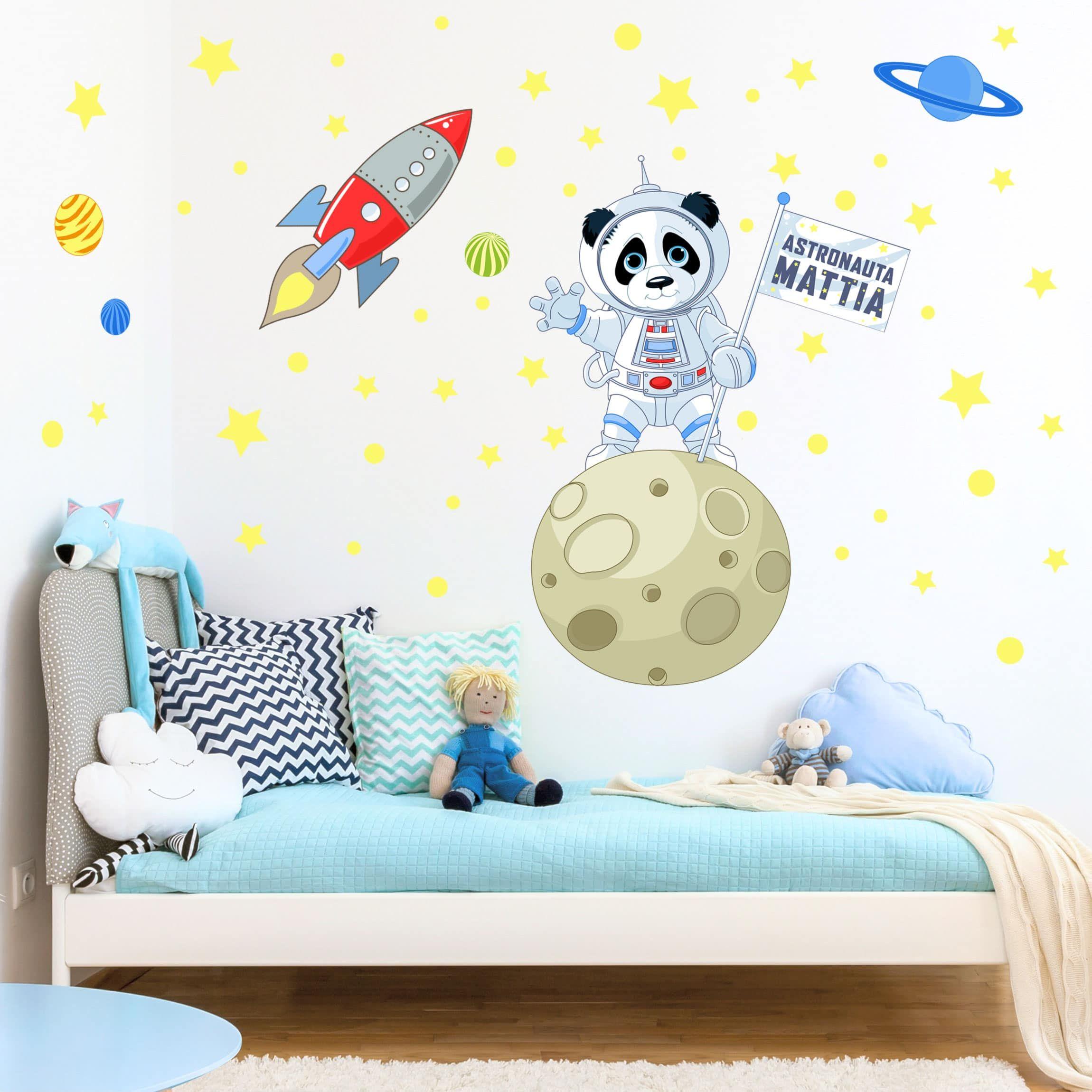 Adesivi Per Stanzette.Adesivo Murale Bambini Panda Astronauta Nome
