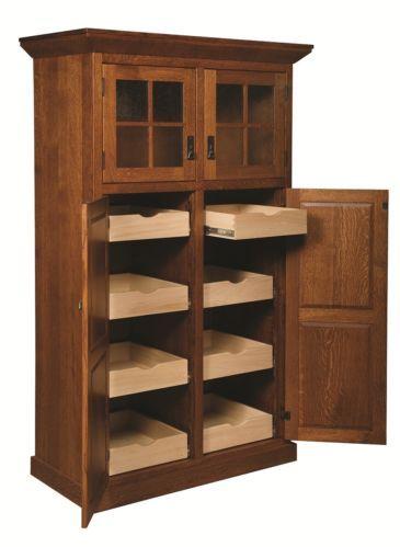 Amish Mission Stickley Rustic Kitchen Pantry Storage Cupboard Roll Shelf  Wood