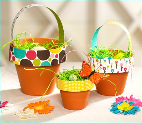 Terra Cotta Easter Baskets- it would be cute to paint the bottom of the pots and add the kid's name too.