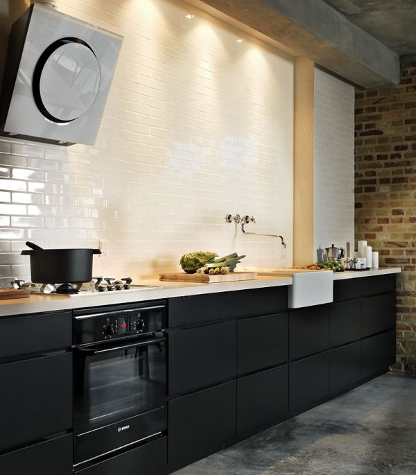 Black Eiffel Another Gorgeous White Kitchen: Black Cabinets, Butler Sink With Traditional Tap