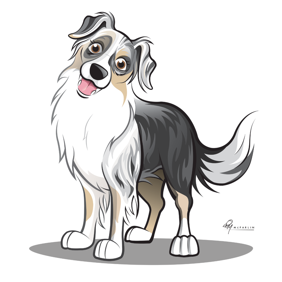Gypsie Caricature Australian Shepherd Dog Drawing Dog Caricature Dog Design Art