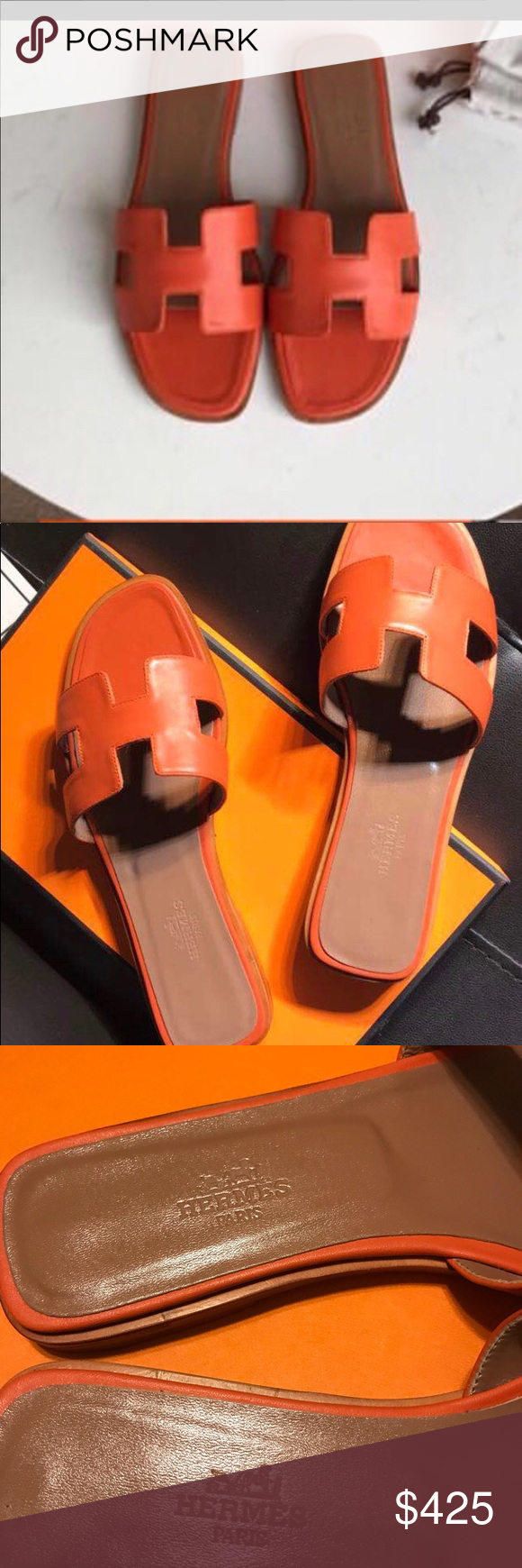 c0d4d3b5b4ad Hermes Oran Sandals size 39 Hermes Oran orange color Sandals size 39 used  once with box please see all photos before make an offer Hermes Shoes  Sandals