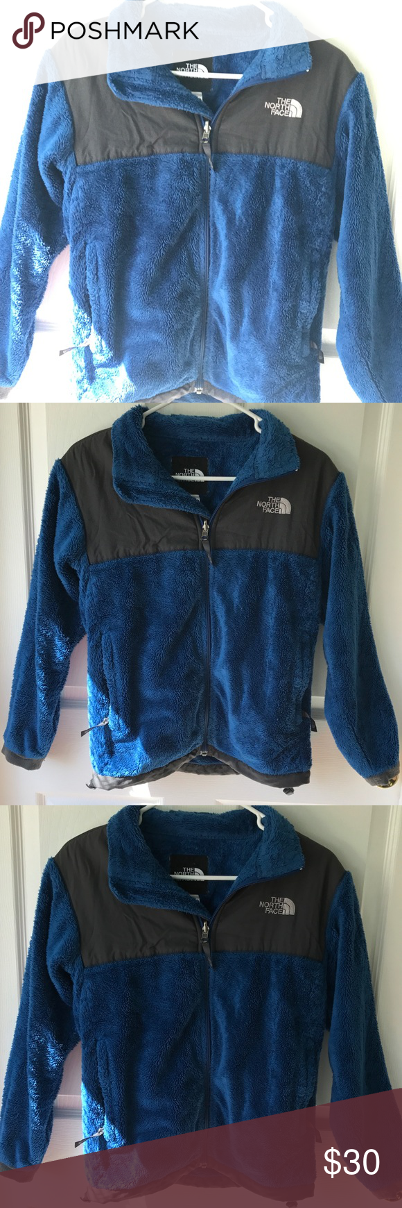 Youth size navy/gray north face jacket Used lots of life ...