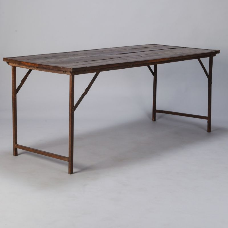 Large Industrial Wood And Iron Folding Table Item 7462 Folding Table Industrial Wood Wood Folding Table