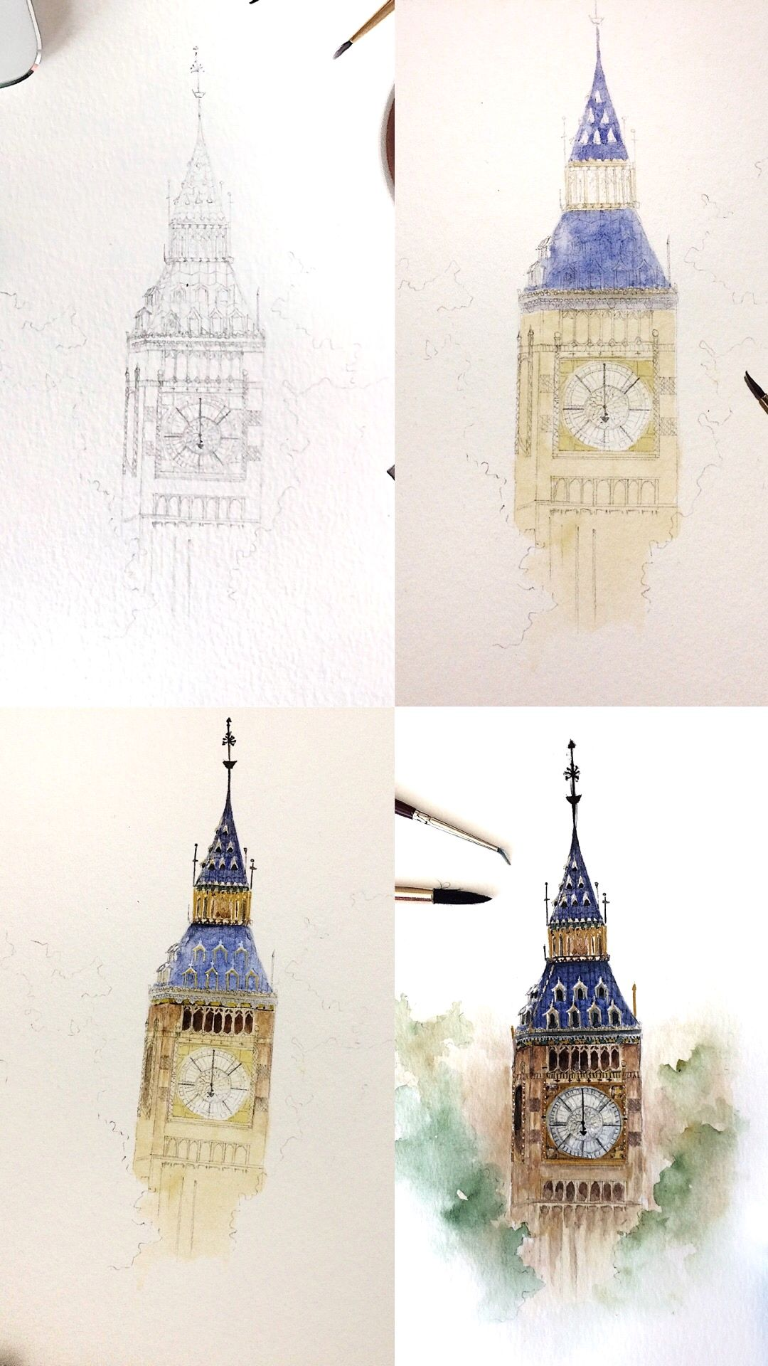 Watercolor Architecture Big Ben Art Painting Painting Drawing
