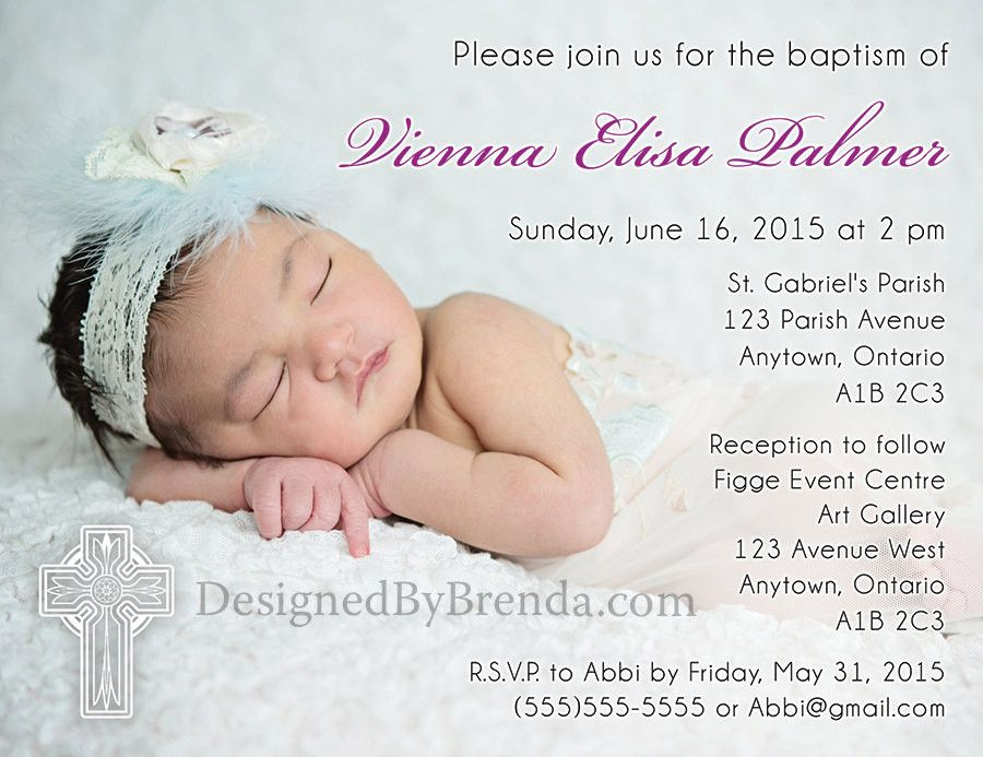 Custom designed religious photo invite for baptism, first communion, confirmation, announcement, etc. Large photo and ornate cross. Can also be thank you card.