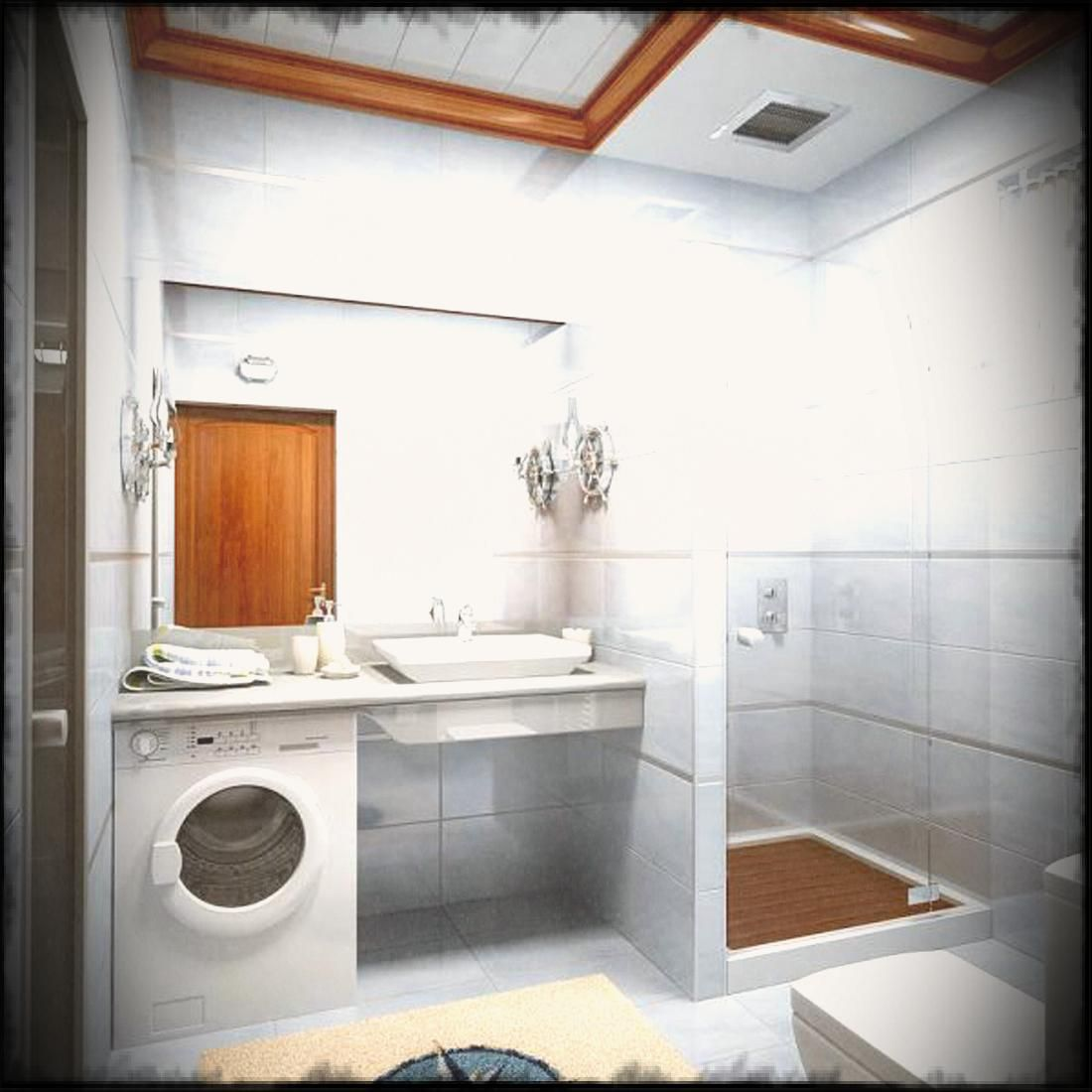 Small Bathroom Remodel With White Wash Machine Also Glass Shower ...