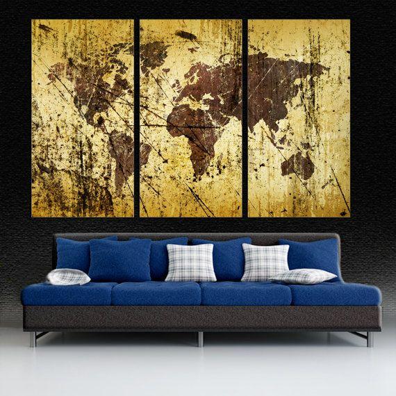 Abstract Buff Kobicha World Map Canvas Print wall art, 3 Panel Split ...