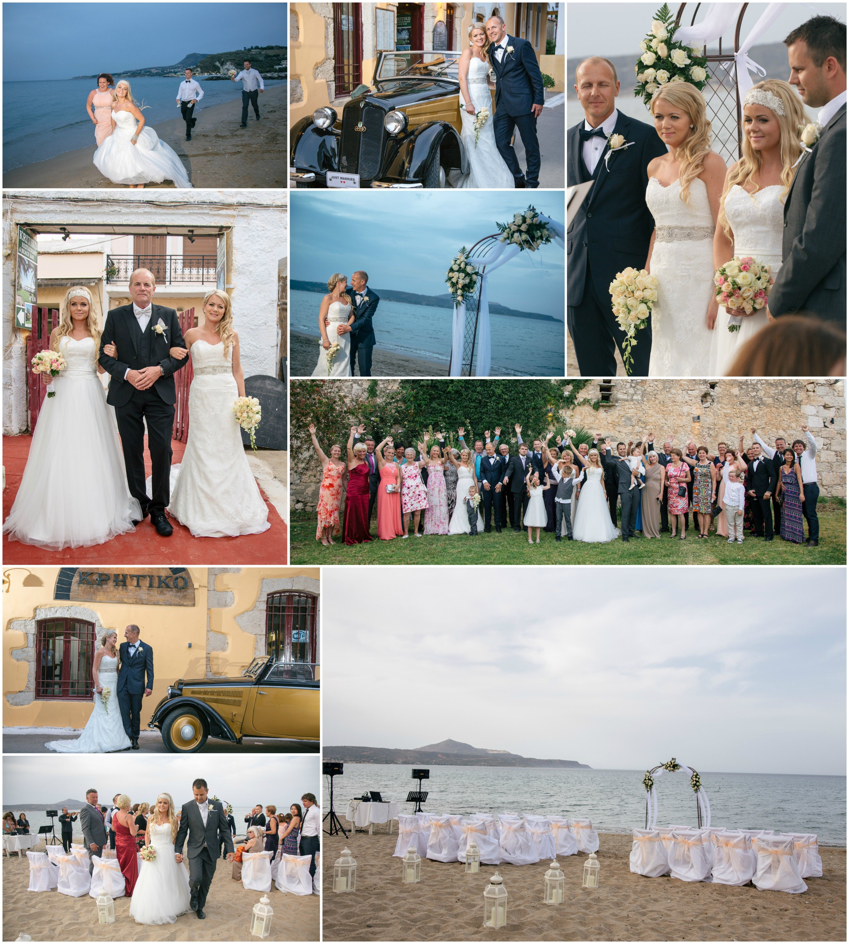 Double Wedding Two Sisters From Norway Tied The Knot At The Same Time On This Beautiful Chania Double Wedding Wedding Organization Wedding Planner