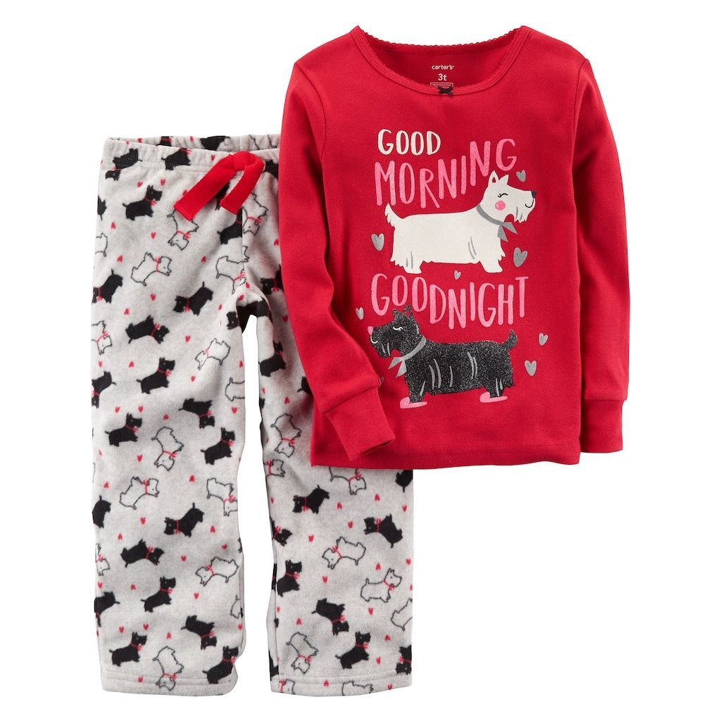 1a656fbd5 Girls 4-14 Carter s Graphic Top   Print Fleece Pants Pajama Set ...