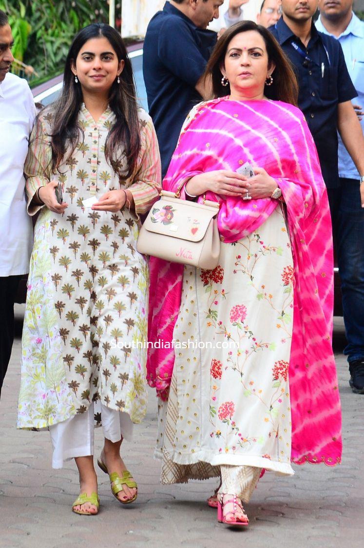 Nita Ambani and Isha Ambani in casual kurta sets South