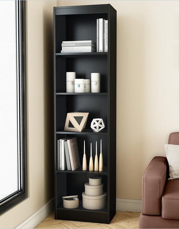 Black Wood Bookcase Vesrion 1 Narrow Bookshelf Bookcase Shelves