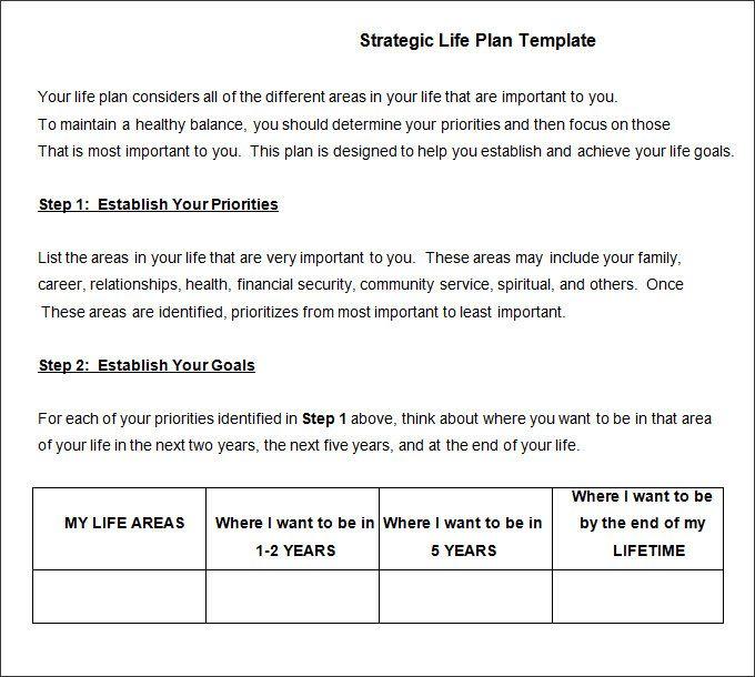 Life Plan Template template in 2018 Pinterest Life plan