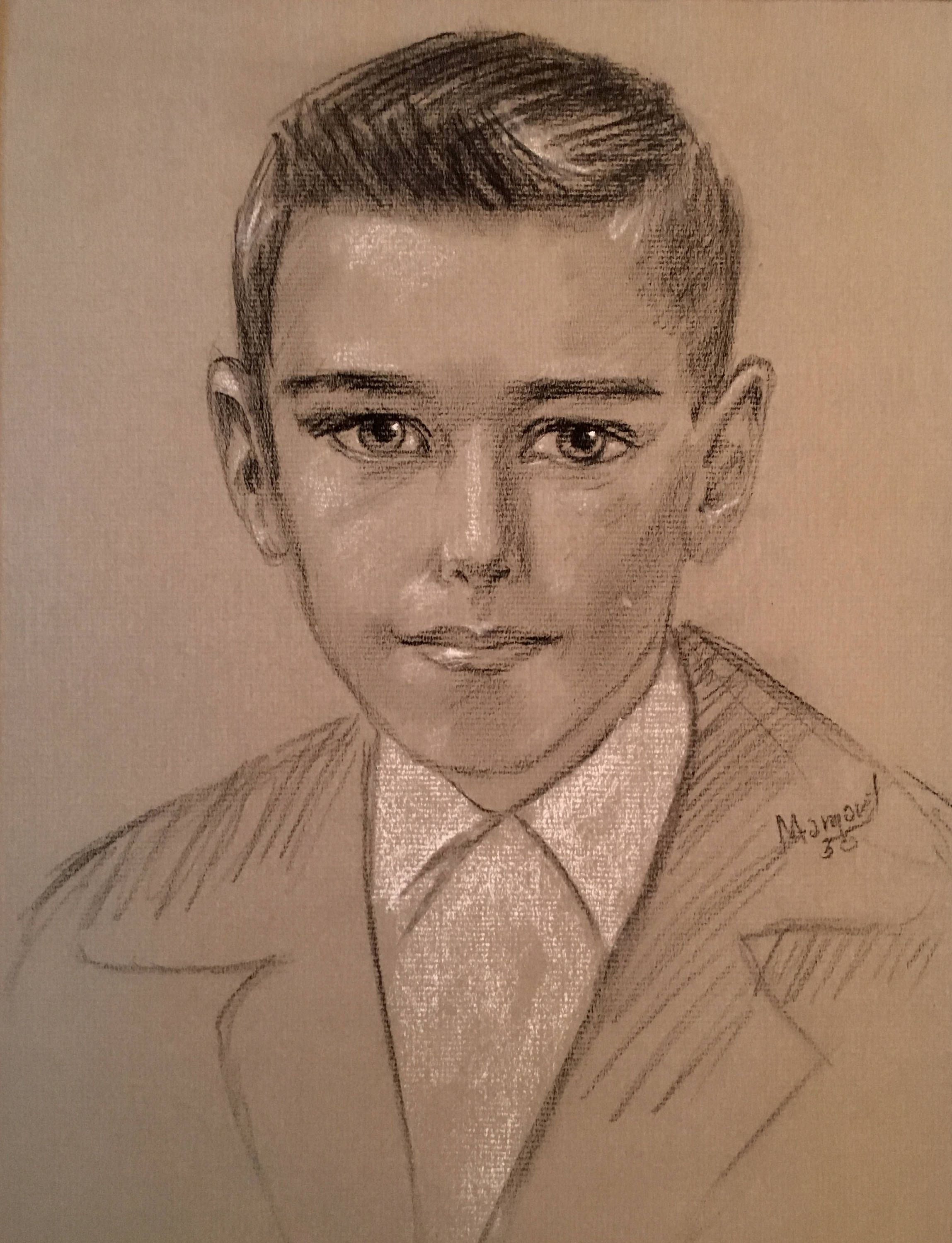 Vintage Mid Century Modern Portrait of a Handsome Young Man Charcoal