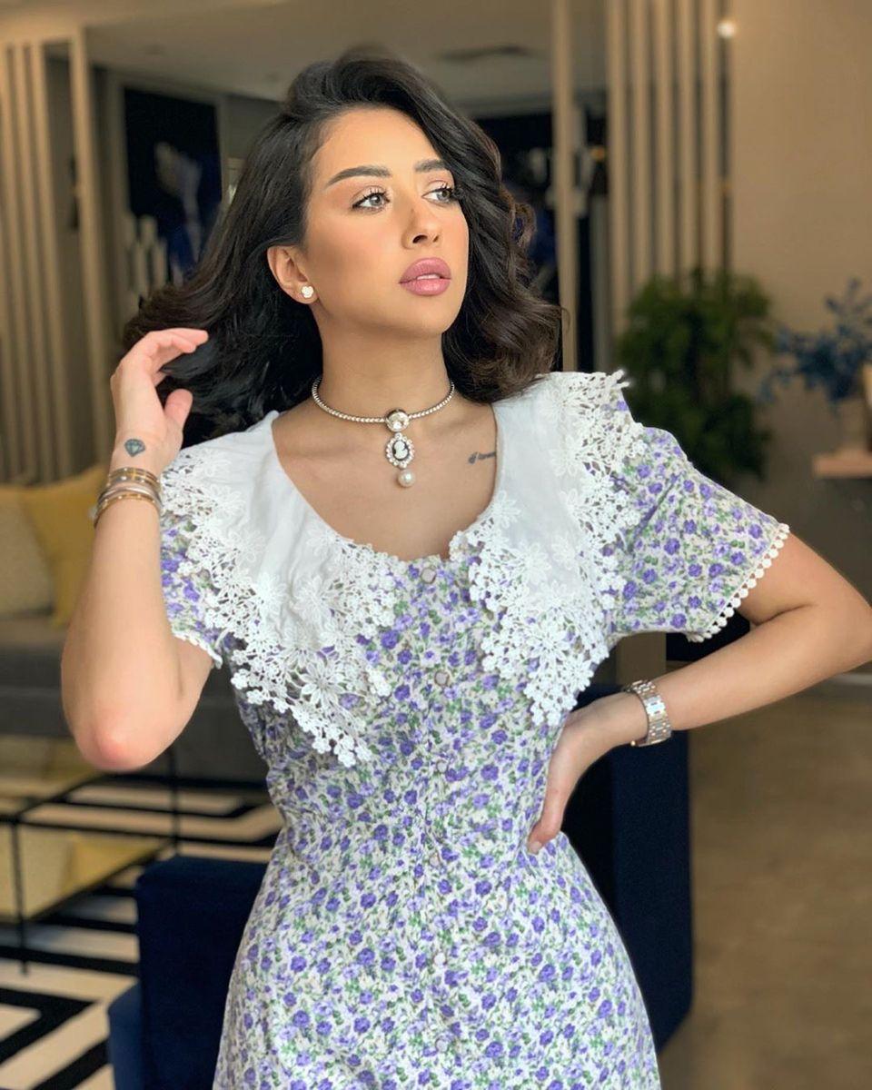 فستان فرح الهادي من شي ان Ditsy Floral Lace Panel Belted Dress Shein Sleeves Designs For Dresses Dresses Belted Dress