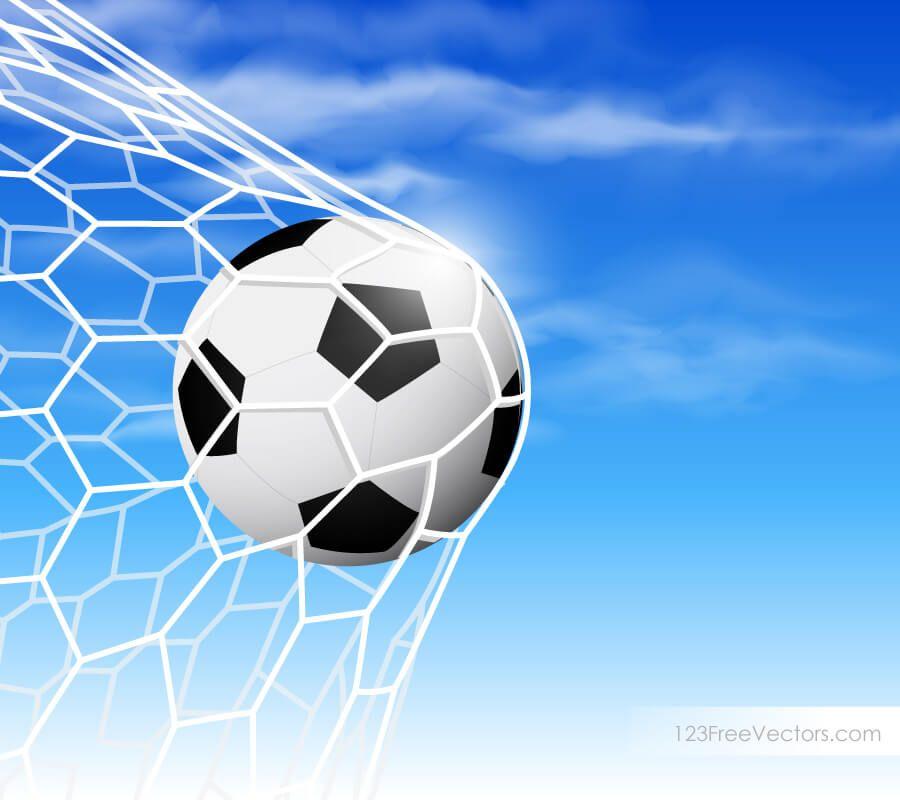 Soccer Ball In Goal Net On Blue Sky Background Blue Sky Background Soccer Ball Soccer