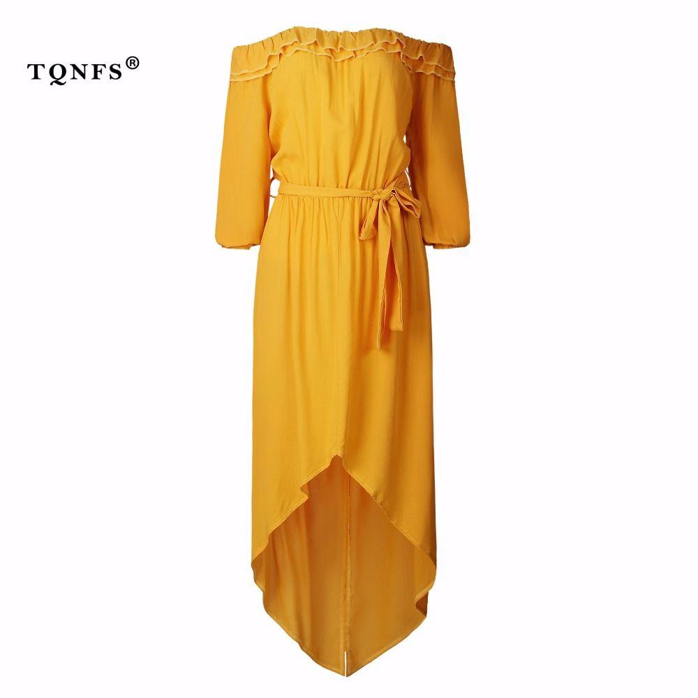 Tqnfs sexy ruffle maxi dress off shoulder long sleeve yellow women