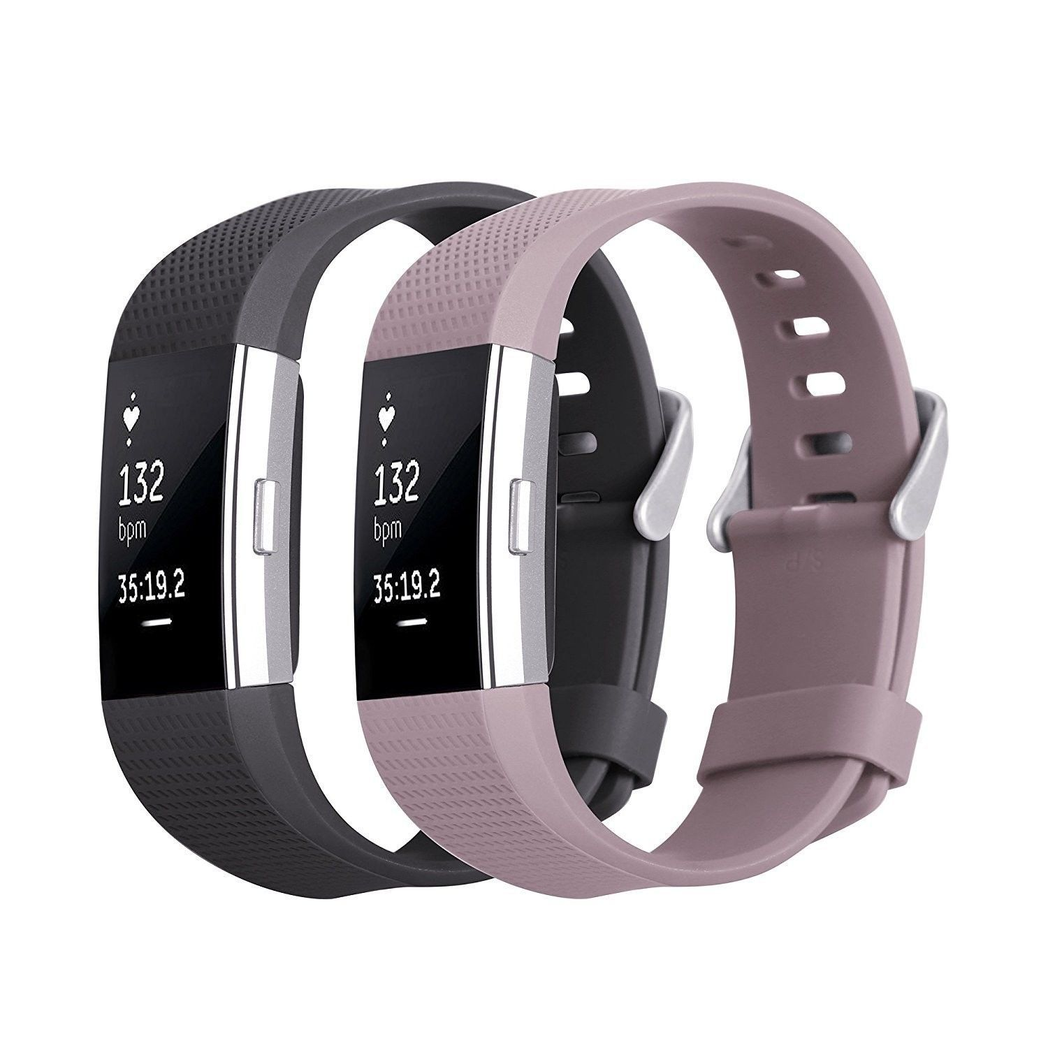 Lavender Amp Black 2pk Large Wristband Band Strap Bracelet For Fitbit Charge 2 Ebay Fitness Wristband Fitbit Workout Accessories