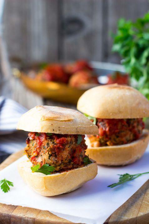 Vegetarian Mealball Sliders with Kale, White Beans & Feta (gluten free)