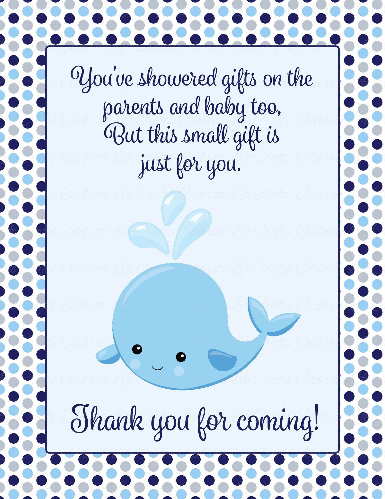 Thank You Favor Sign Printable Download Navy Gray Whale Baby