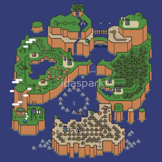 Retro art work Super Mario World Map by idaspark
