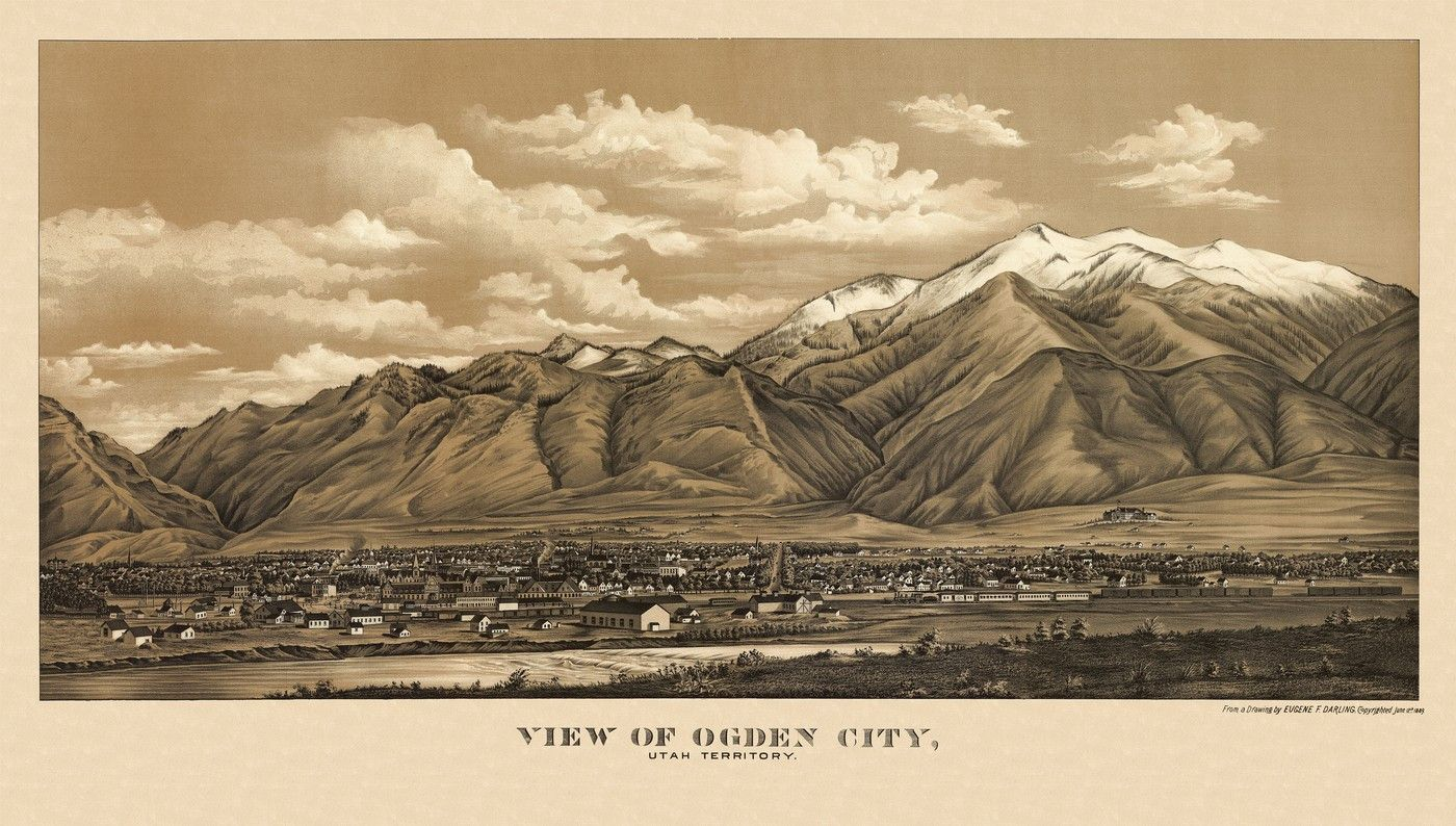 View of Ogden City Utah Territory From a drawing by Eugene F