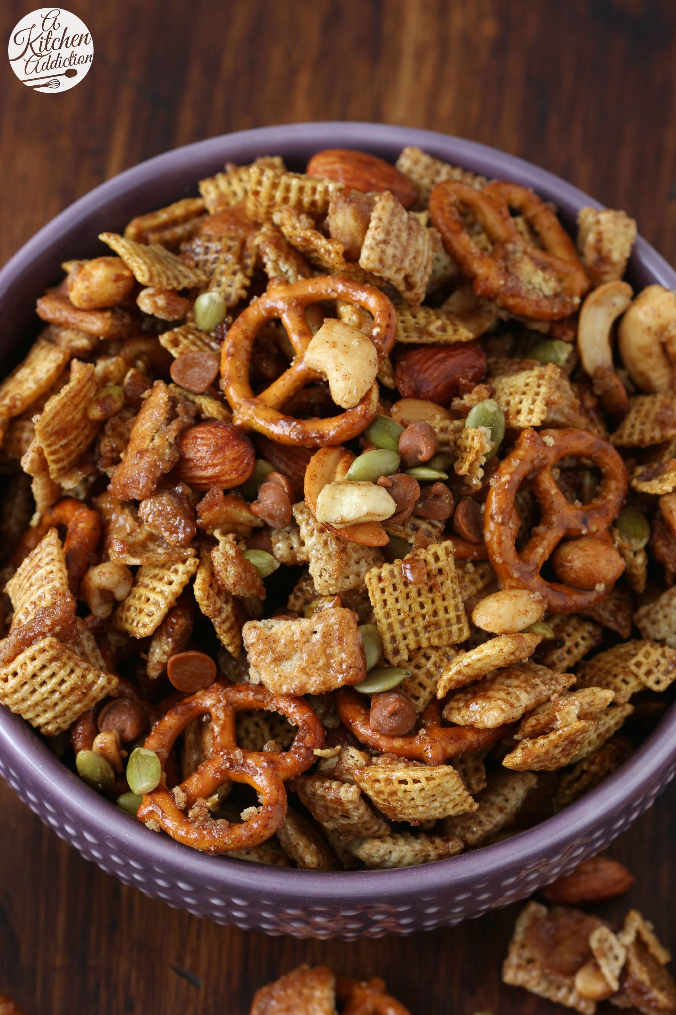 Slow Cooker Cinnamon Maple Chex Mix Recipe from A Kitchen Addiction
