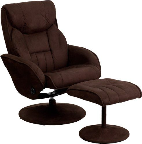 Contemporary Brown Microfiber Recliner and Ottoman with Circular ...