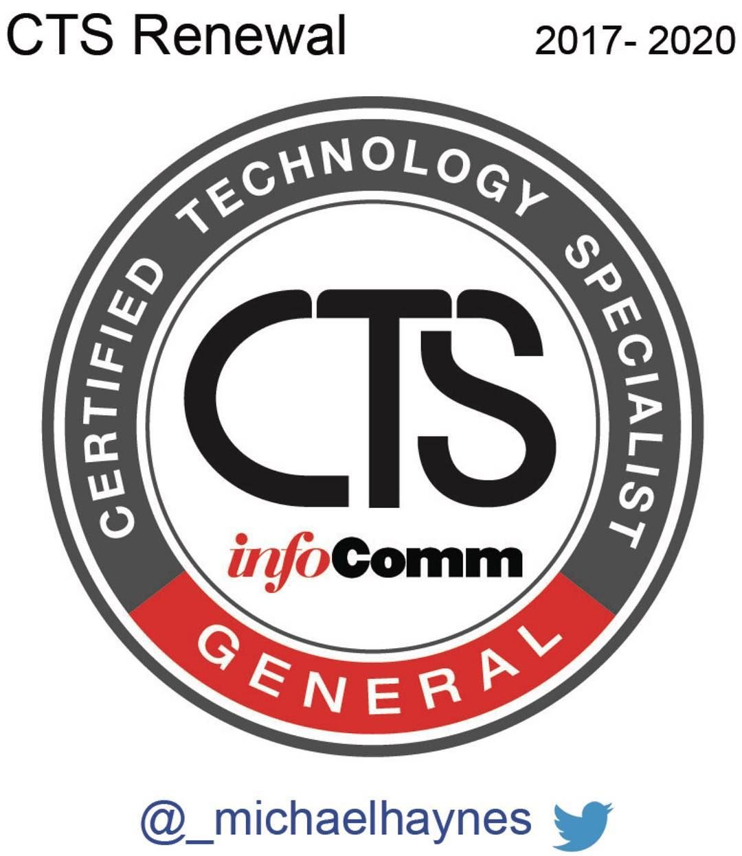 I just renewed my Infocomm CTS certification for another three years ...