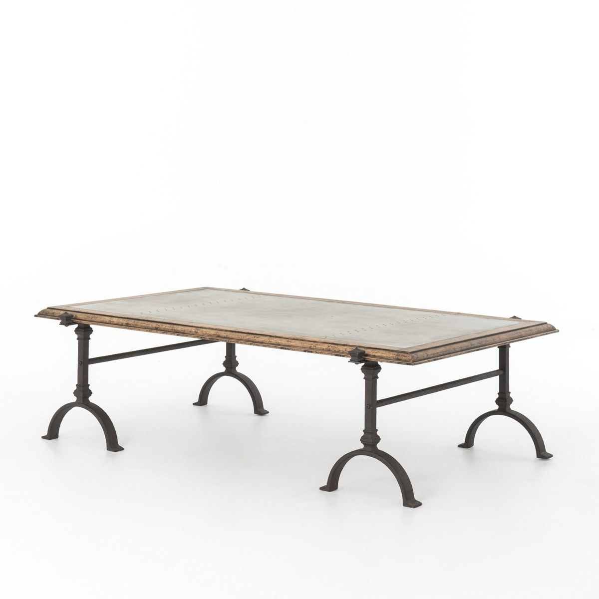 Galvanized Iron Rustic Oak Foundry Coffee Table 60""