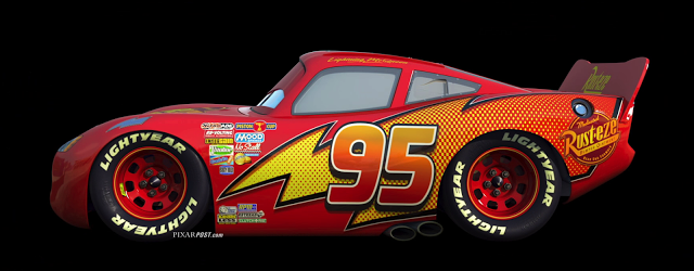 Lightning McQueen With Updated Cars  Design On Display At The - Lightning mcqueen custom vinyl decals for car