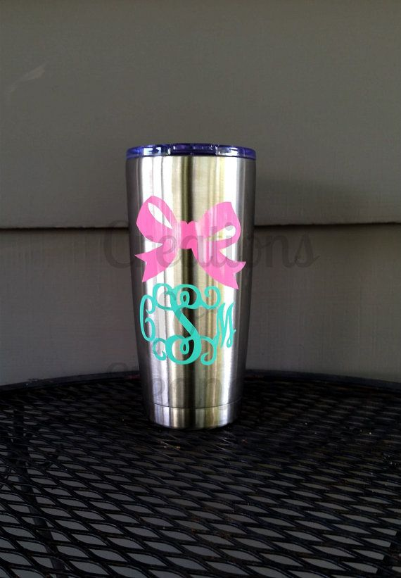 monogrammed stainless tumbler personalized cup personalized
