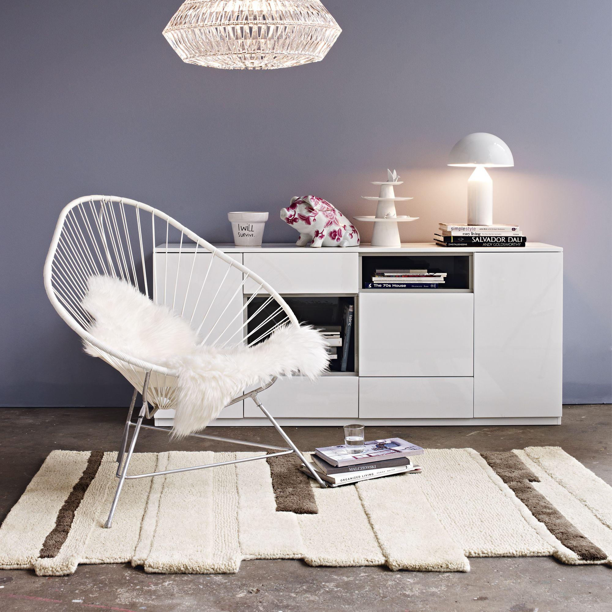 Wandfarbe Schlafzimmer Weisse Möbel: Im Querformat: Kommode In Weißer Hochglanz-Optik
