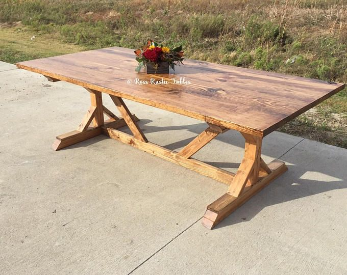 Trestle Farmhouse Dining Table with Matching Bench