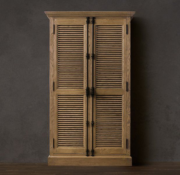 Shutter Double Door Cabinet With Images Closet Furniture Painting Oak Cabinets