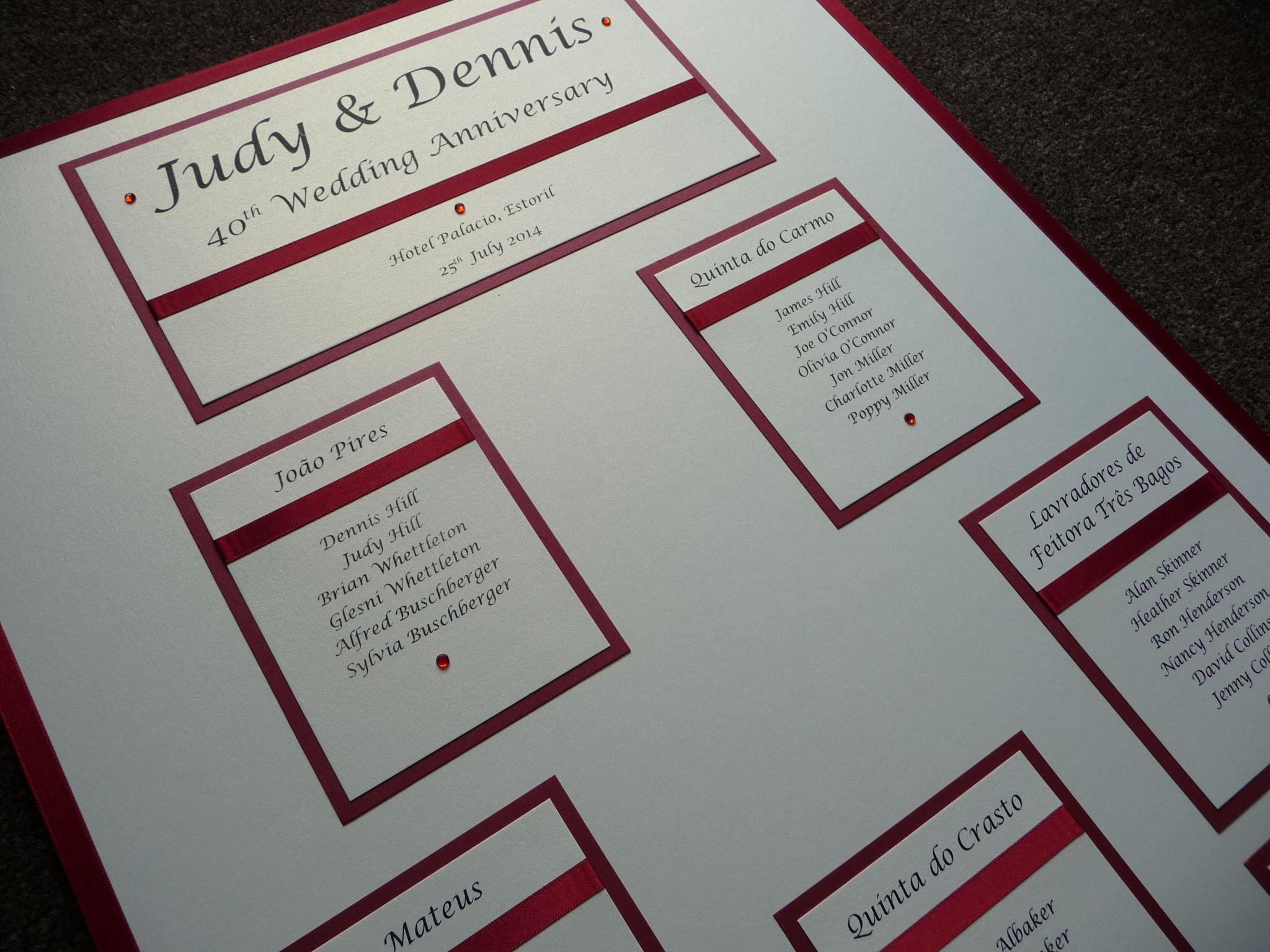 Th wedding anniversary ruby themed seating plan our table