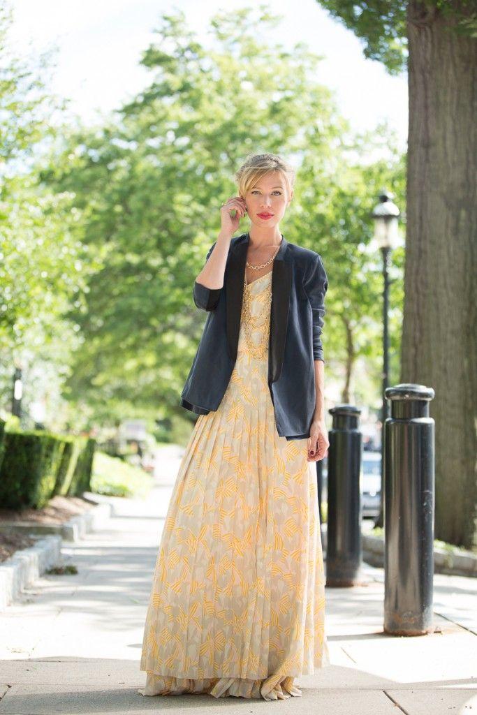 Jordan Reid in a TJMaxx floral maxi dress and navy blazer