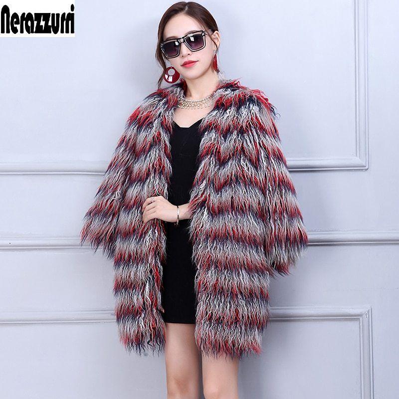 c1b4103181b4c Nerazzurri Winter Faux Fur Jacket Women 2018 Fashion Multicolor Elegant  Shaggy Furry Female Fake Fur Coats Plus Size 4xl 5xl 6xl now available on  Affordable ...