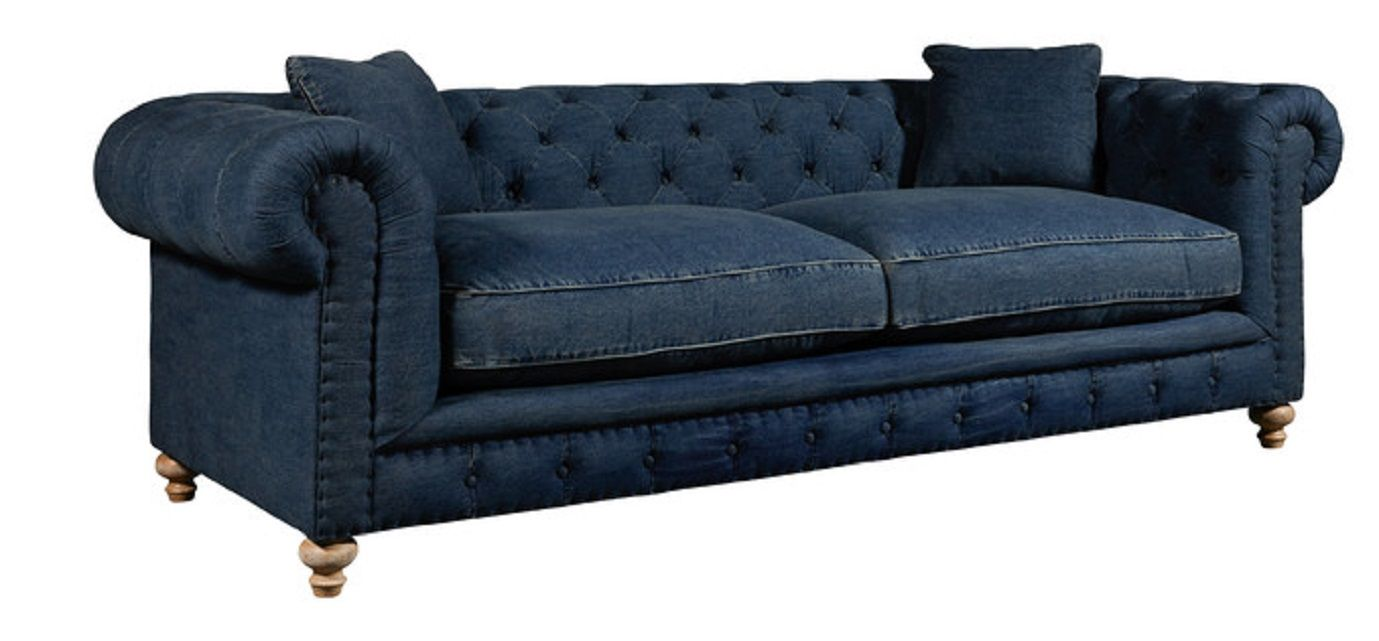 Greenwich Tufted Blue Denim Fabric Sofa By Spectra Home The Make A Chic And Sophisticated Statement In Your Living E