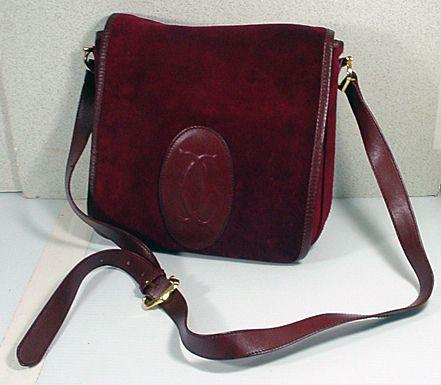 645fade765 Vintage Cartier Burgundy Leather Suede Shoulder Strap Handbag