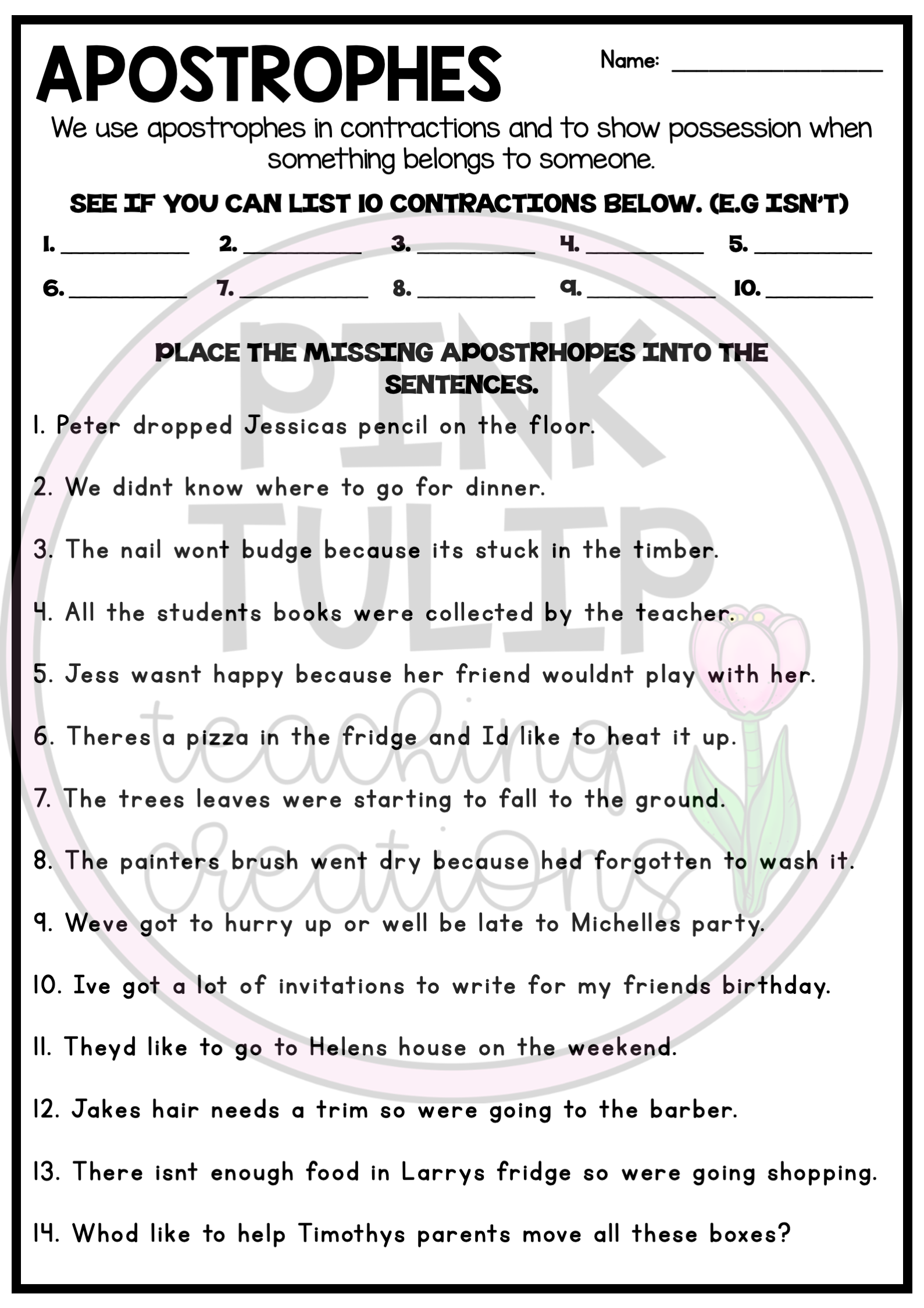 Using Apostrophes Worksheets