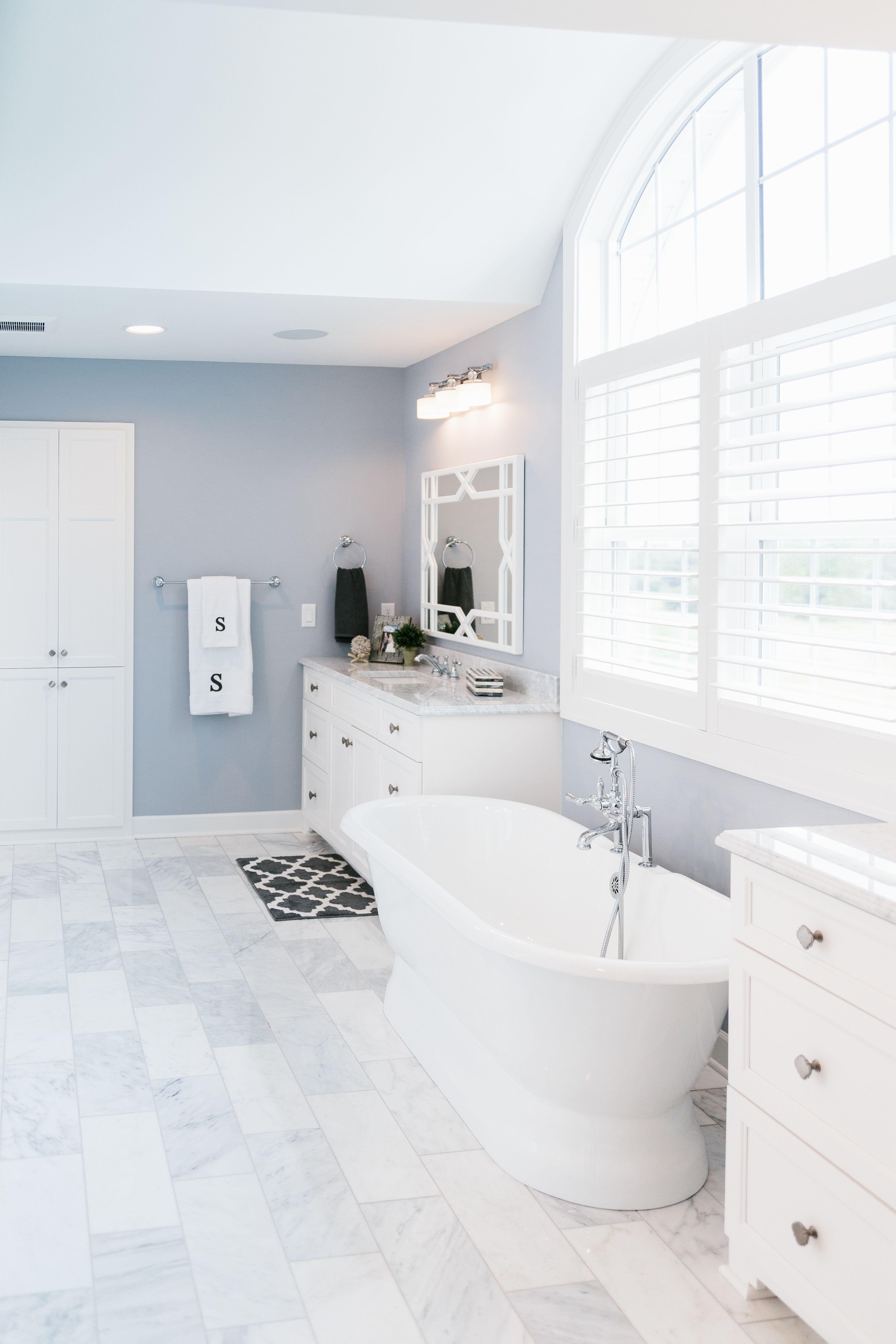 Master Bathroom With Marble Flooring