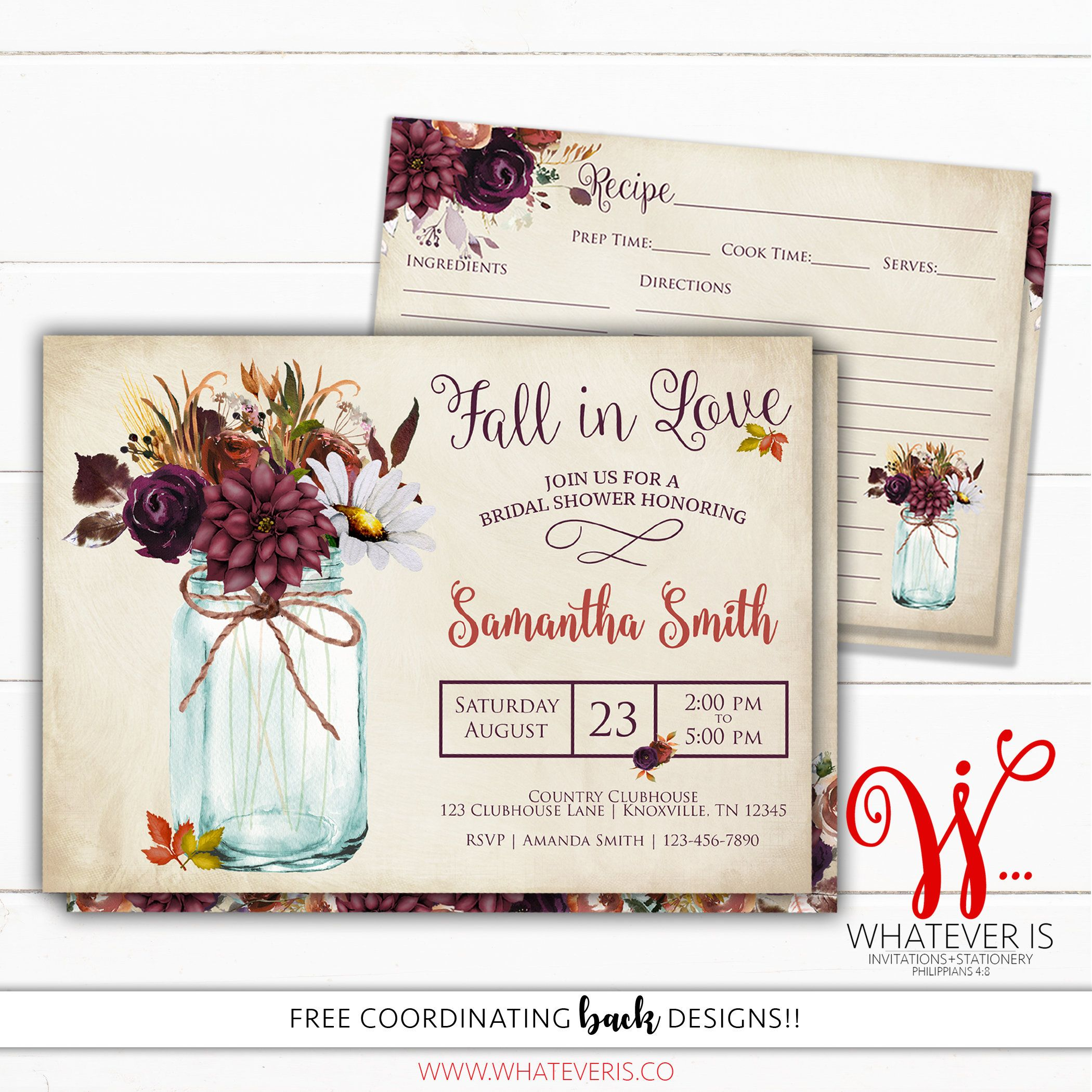 Fall Bridal Shower Invitations