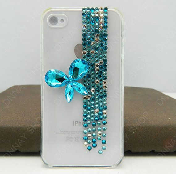 iphone 5 case Pearl bows Blue  gifts Gem BOW iphone 4 by dnnayding, $18.99