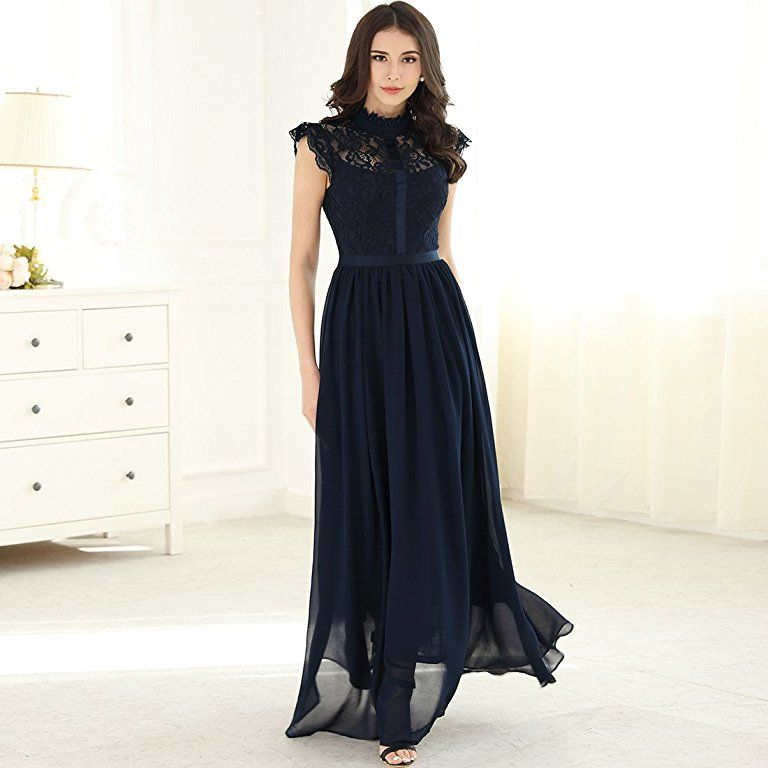 Miusol Damen Elegant Spitzen Abendkleid Brautjungfer ...