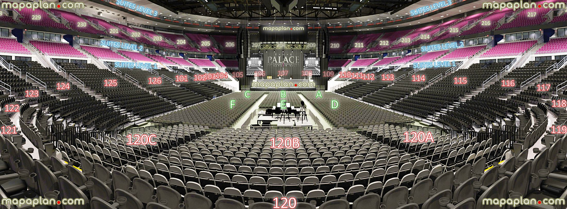 Auburn Hills Arena 121 122 123 124 125 126 Detroit Palace Of Seating Chart