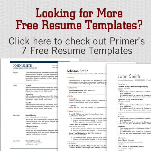 12 More FREE Resume Templates Free resume - resume templates for job