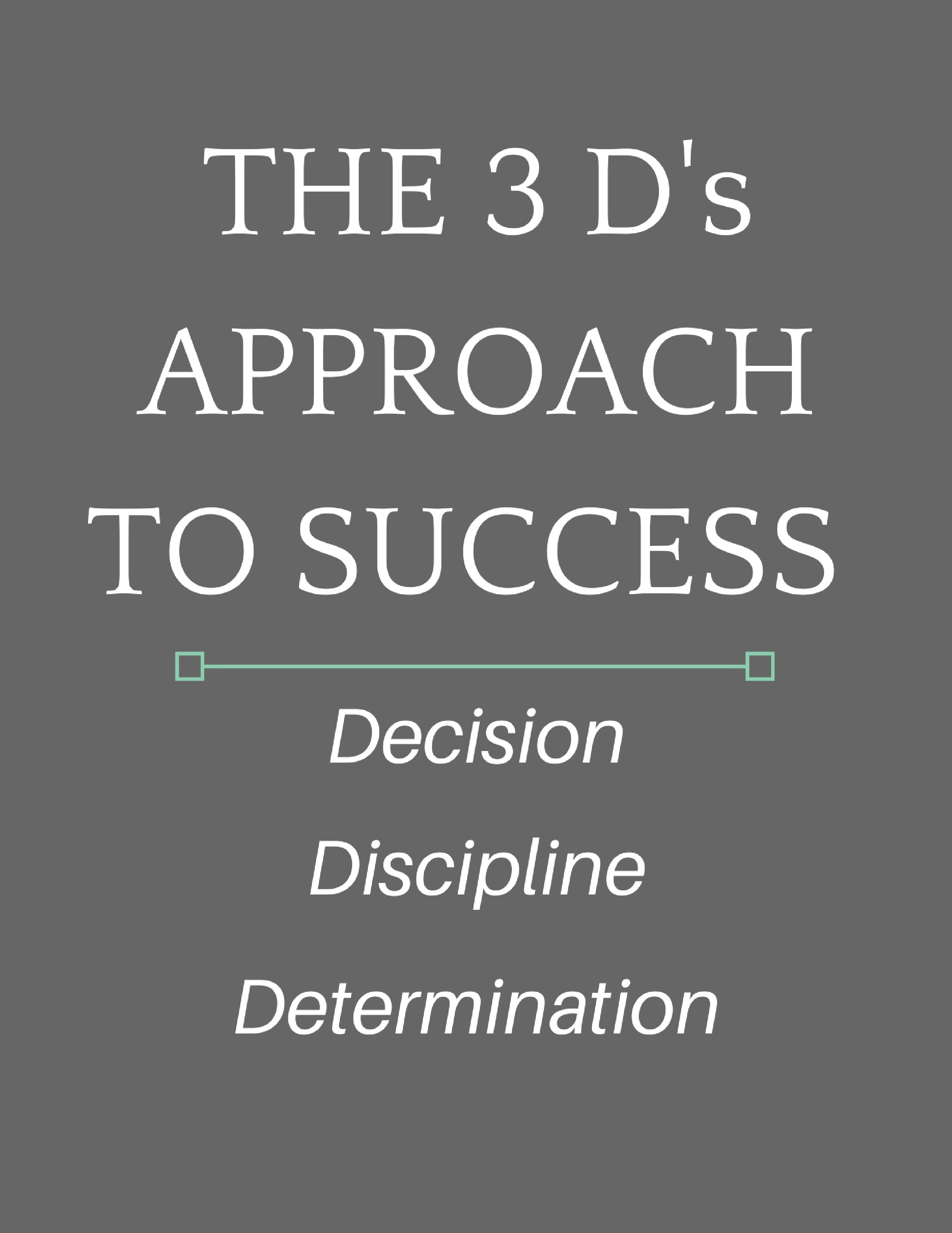 The 3 D s Approach to Success Inspirational Success