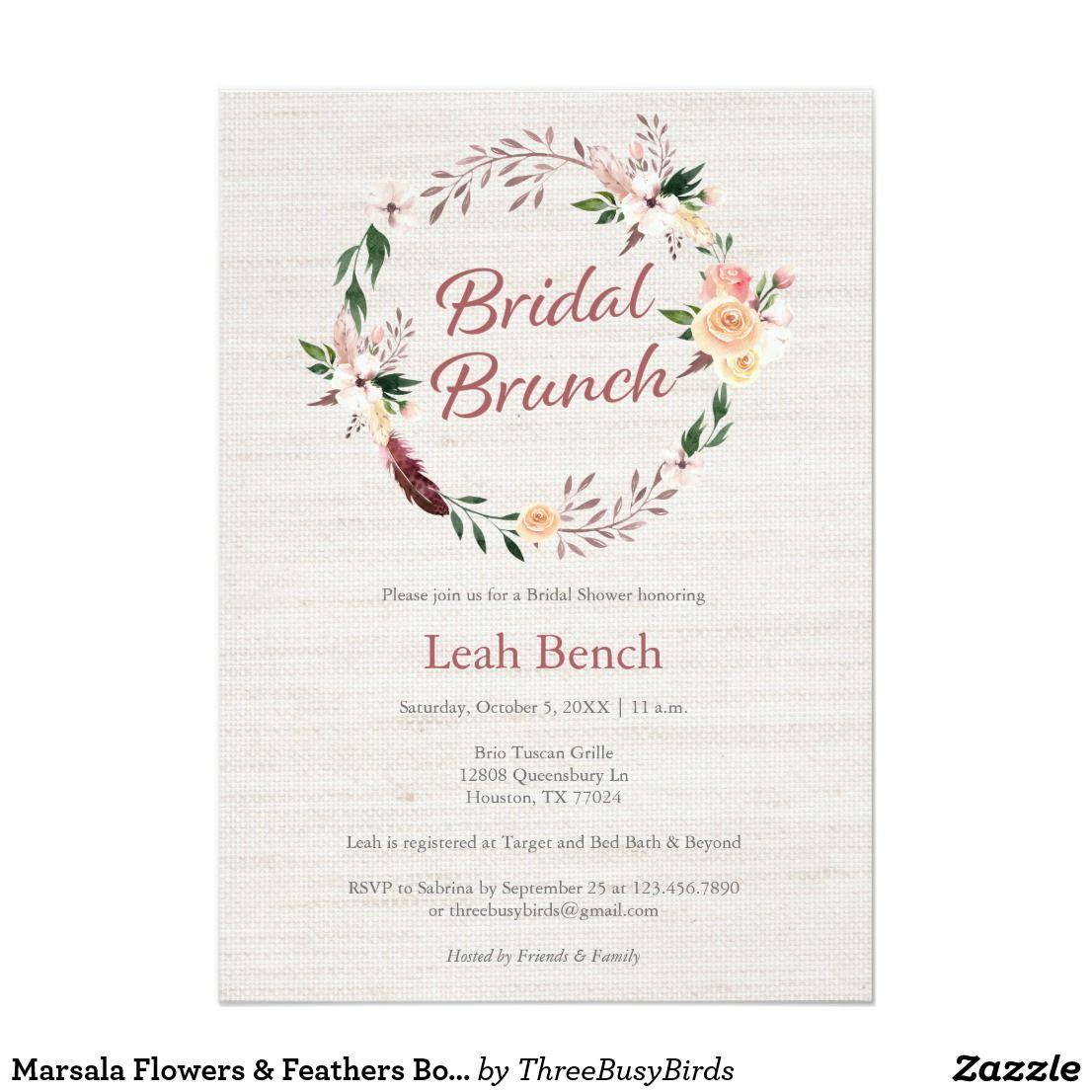 Marsala Flowers Feathers Boho Bridal Brunch Card Brunch